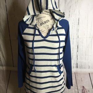 Women's Striped Hooded Shirt